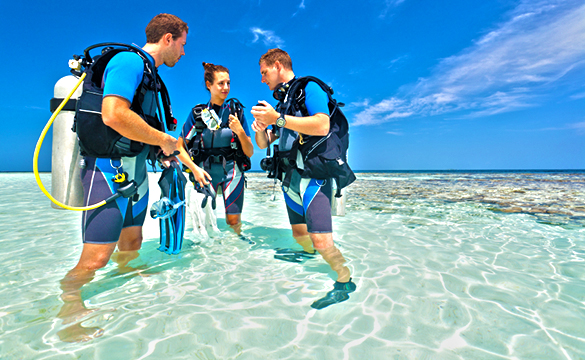 cozumel beach dive course for learning how to scuba dive in cozumel