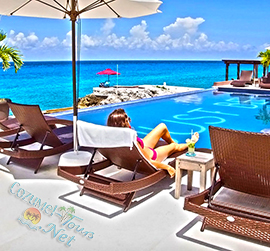 cozumel resort day pass with full course meal, bottle of wine, pool, jazcuzzi